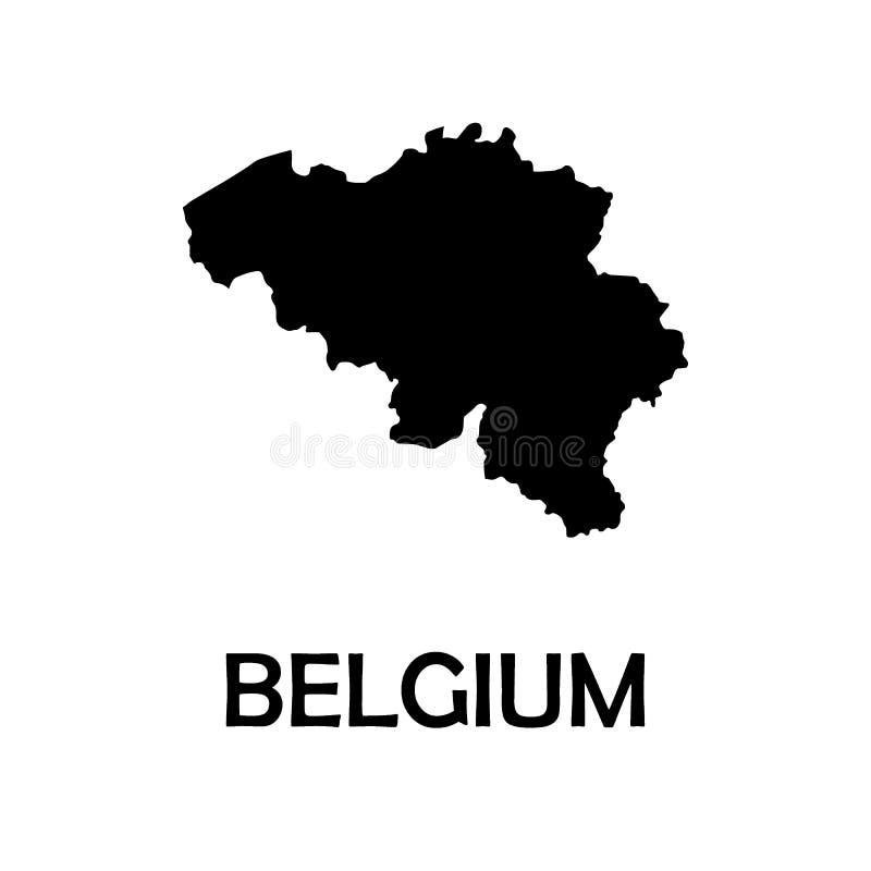 Czarna mapa Belgium biały tło wektor ilustracji