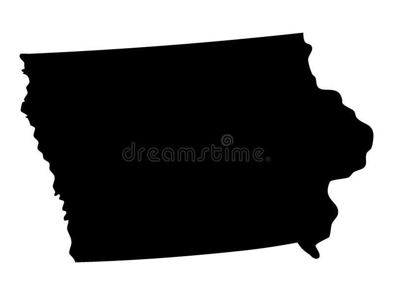Czarna mapa usa stan Iowa royalty ilustracja