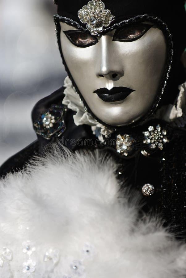 czarna maska venetian white zdjęcie stock
