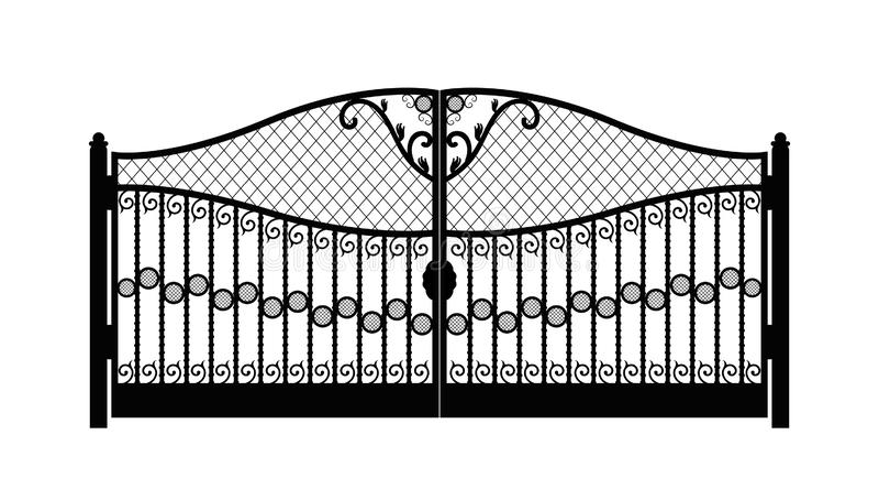 Czarna metal brama z fałszującymi ornamentami na białym tle eps10 ilustracji
