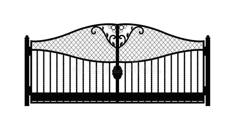 Czarna metal brama z forged ornamentami na białym tle ilustracja wektor