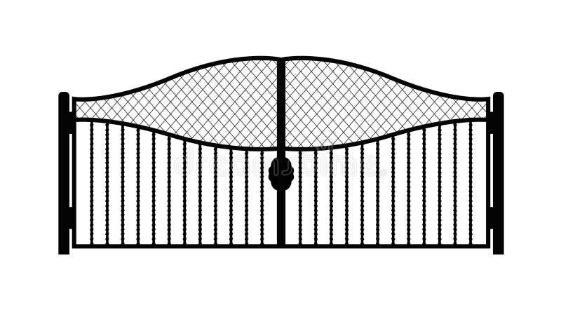 Czarna metal brama z forged ornamentami na białym tle ilustracji
