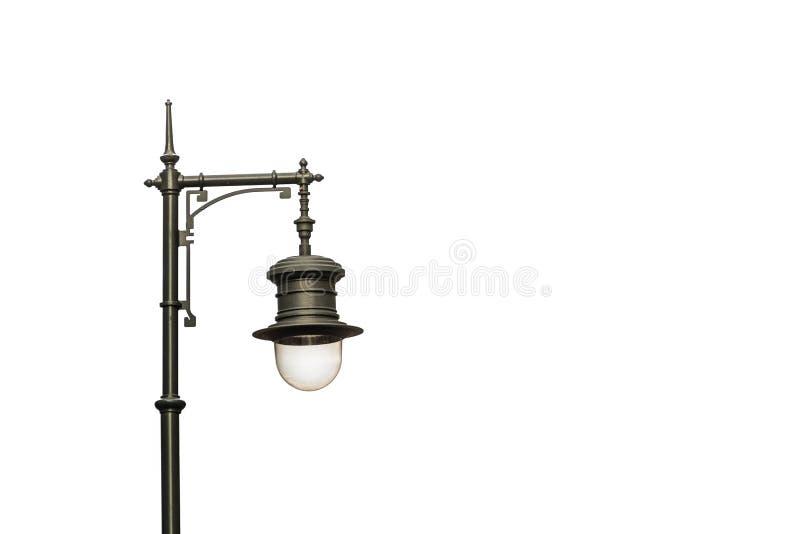 Czarna metal latarnia uliczna odizolowywająca na białym tle obraz royalty free