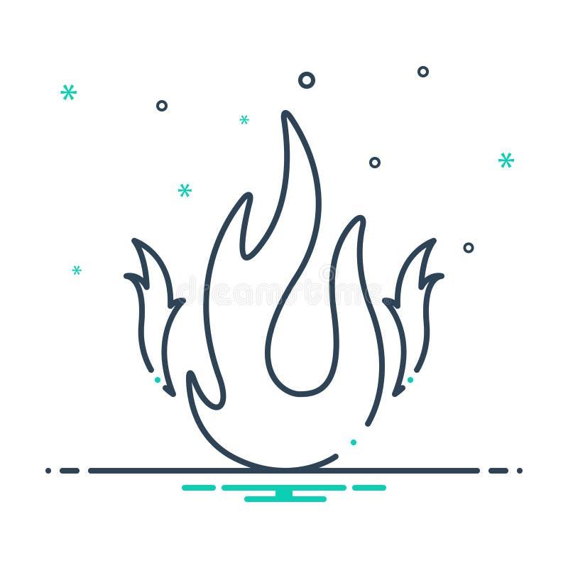Czarna mieszanki ikona dla ogienia, płomień i podpalający ilustracji