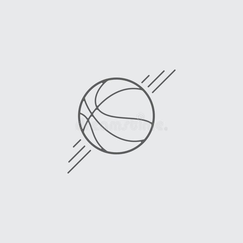 Czarna mieszkanie linii koszyk?wki pi?ki ikona ilustracja wektor
