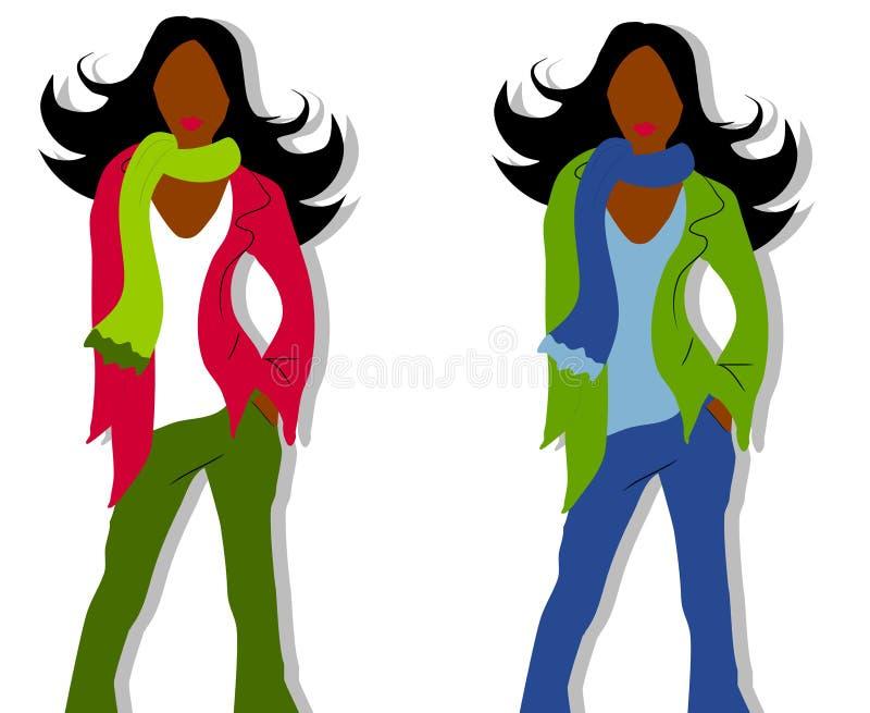 czarna moda modeli zima ilustracji