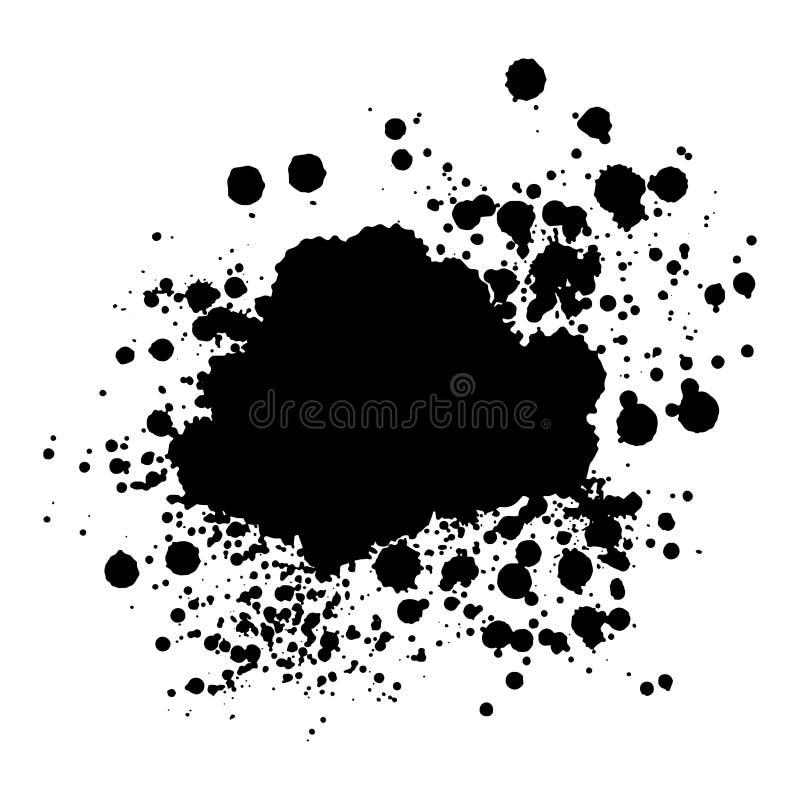 Czarna monochromatyczna farba lub atrament zaplamiamy grunge tło Tekstura wektor Pył narzuty cierpienia adra Czarny splatter royalty ilustracja