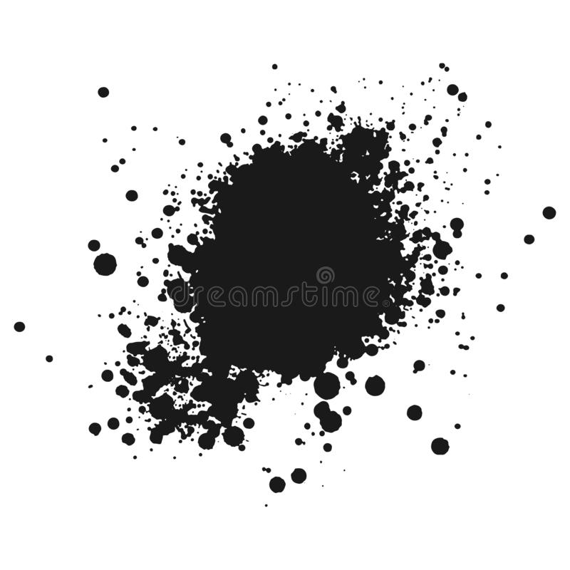 Czarna monochromatyczna farba lub atrament zaplamiamy grunge tło Tekstura wektor Pył narzuty cierpienia adra Czarny splatter ilustracja wektor