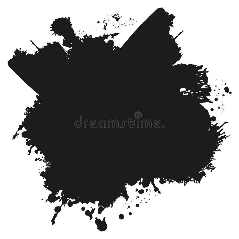 Czarna monochromatyczna farba lub atrament zaplamiamy grunge tło Tekstura wektor Pył narzuty cierpienia adra Czarny splatter ilustracji
