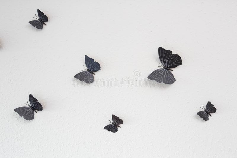 Czarna motyl grupy tła tekstury bielu ściana fotografia royalty free