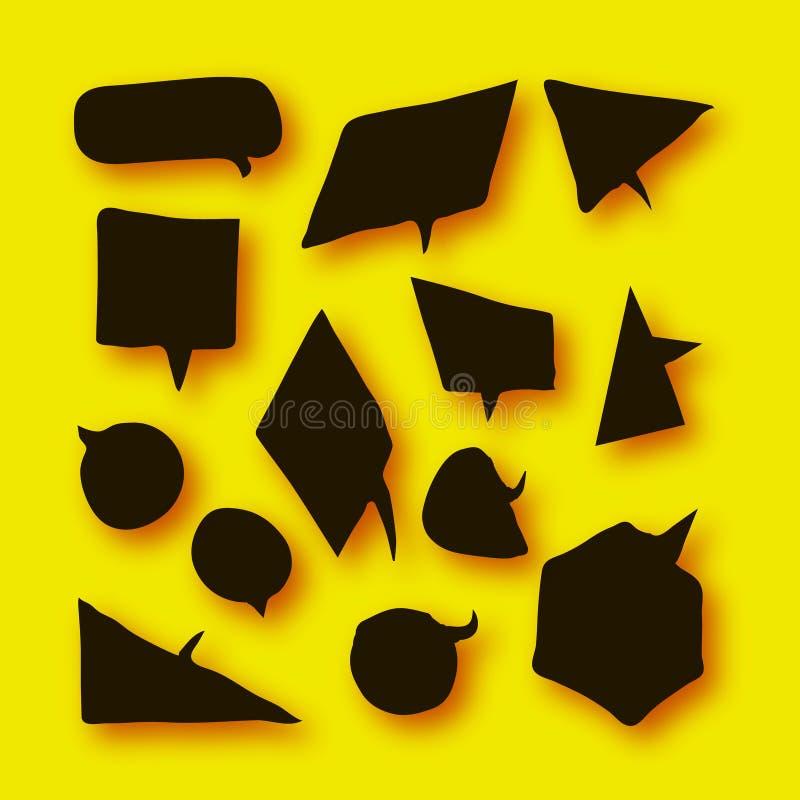 Czarna mowa Gulgocze kolekcję w papieru cięcia stylu z cieniami na kolorze żółtym ilustracji