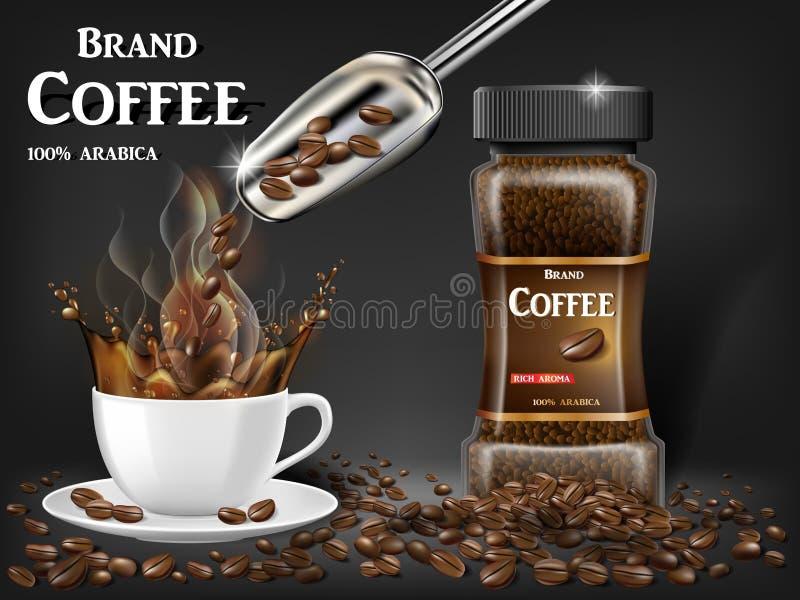 Czarna natychmiastowa filiżanka z pluśnięcia i fasoli reklamami 3d ilustracja gorący kawowy kubek Produktu projekt z bokeh ilustracja wektor