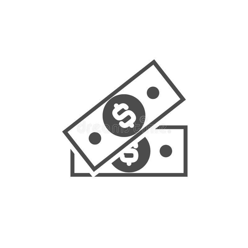 Czarna notatka bankowa ze znakiem dolara Ikona płaska izolowana na bieli Piktogram pieniężny Dolar i gotówka, moneta royalty ilustracja