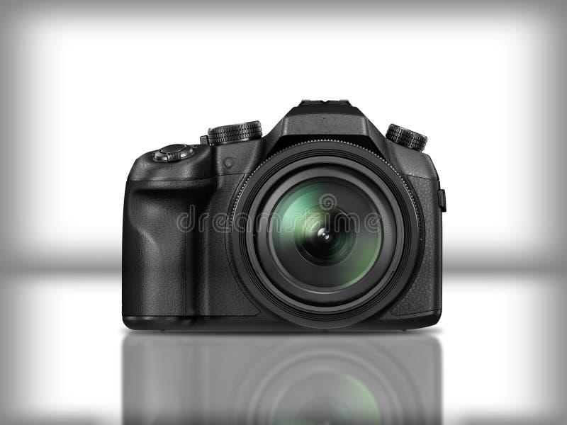Czarna nowożytna refleksowa kamera w białym tle z odbiciem zdjęcie royalty free
