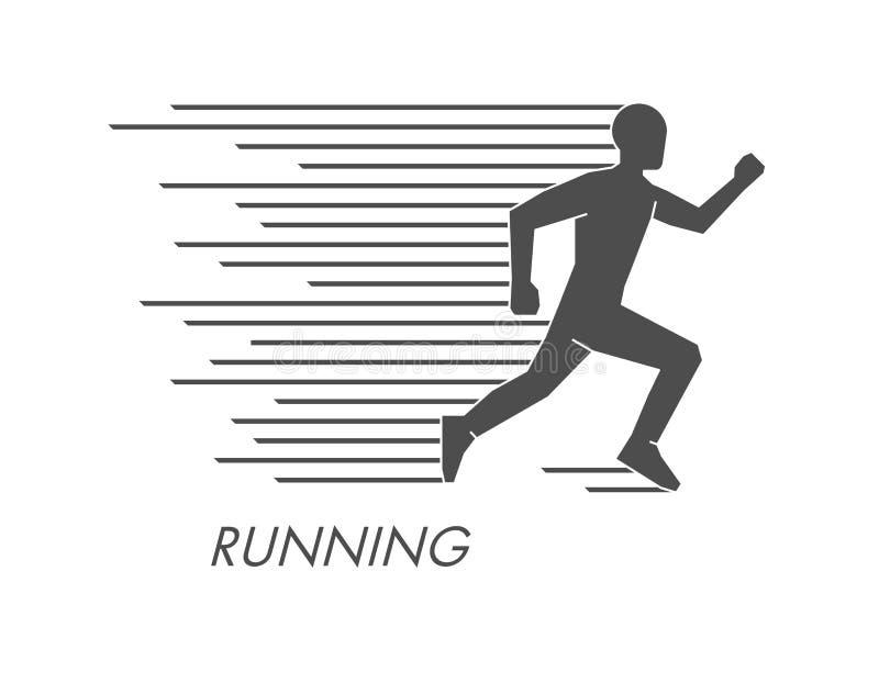 Czarna płaska działająca ikona i logo Wektor oblicza biegacza ilustracja wektor