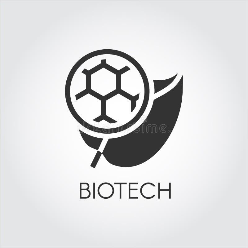 Czarna płaska ikona liść i molekuła symbolizuje nowożytnego Biotech Prostoty etykietka biotechnologii pojęcie kuli ziemskiej loga ilustracja wektor