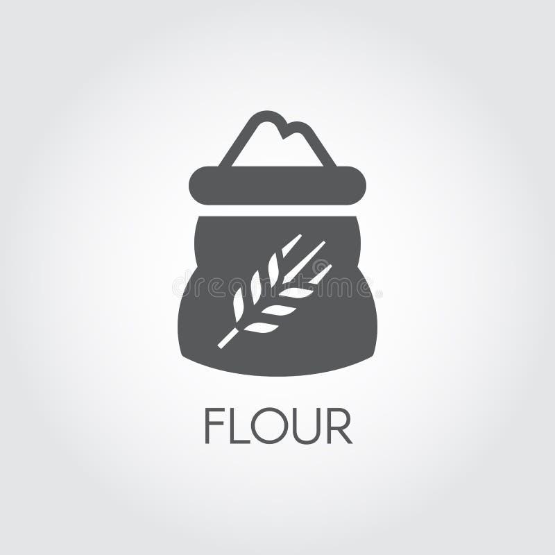 Czarna płaska ikona torba z mąką - składnik dla różnorodnych przepisów Wektorowy symbol kucharstwo, żniwo, kulinarny wektor ilustracji