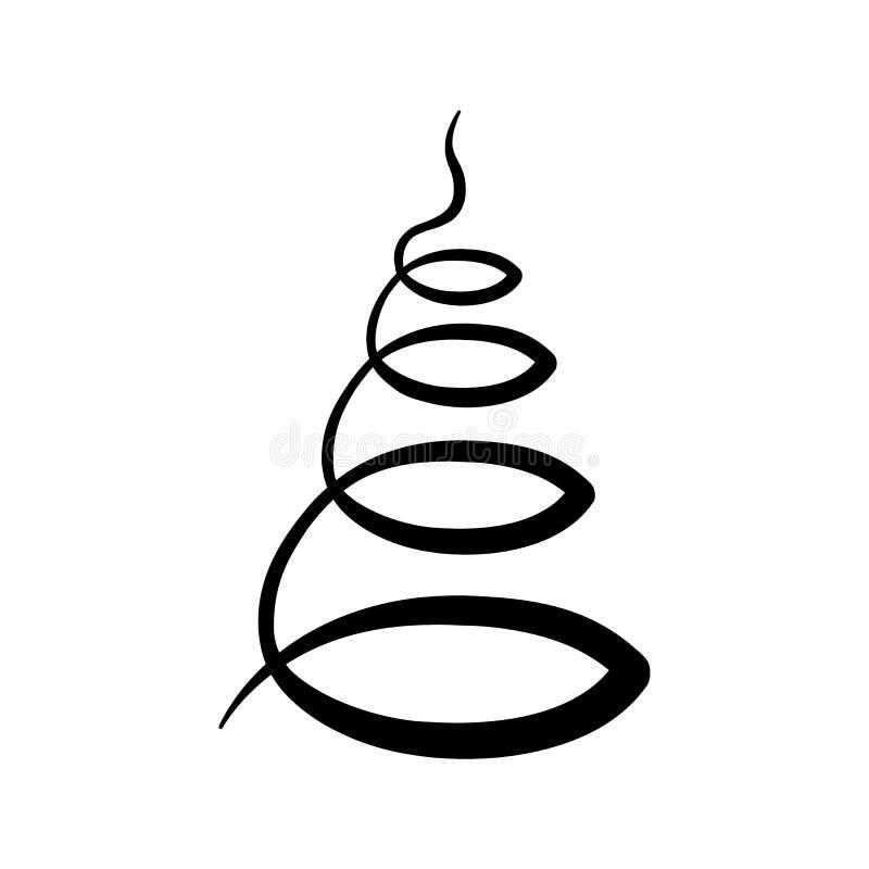Czarna płaska wektorowa choinki ikona odizolowywająca; ręka rysujący spira royalty ilustracja