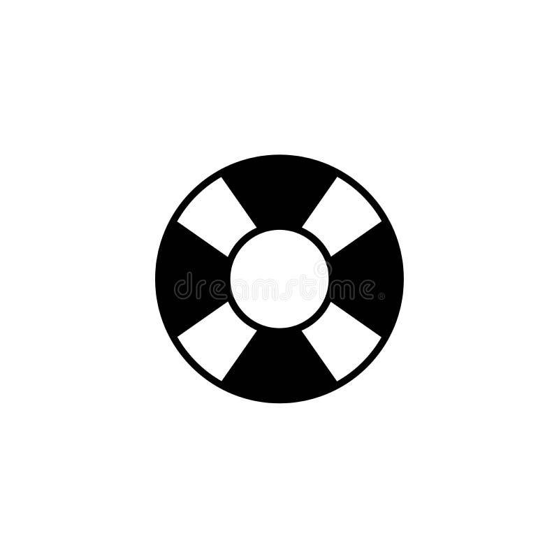 Czarna pływacka gumowego pierścionku ikona na białym tle Spławowi lifebuoy, bawją się dla plaży lub statku royalty ilustracja