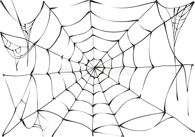 Czarna pająk sieć na białym tle royalty ilustracja