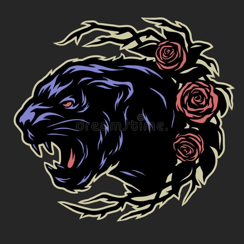 Czarna pantera i róże ilustracja wektor