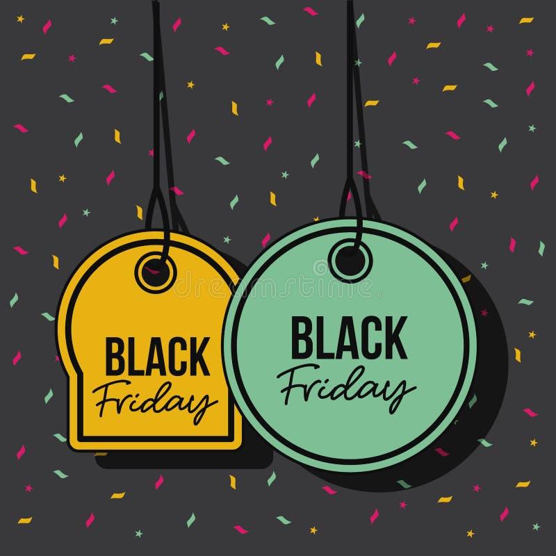 Czarna Piątek promocyjna oferta oznacza koloru żółtego i zieleni breloczek nici w czarnym tle z confetti kolorowymi ilustracji
