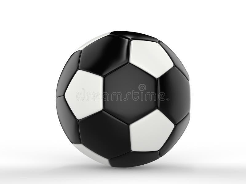 Czarna piłki nożnej piłka z biel płytkami - boczny widok royalty ilustracja