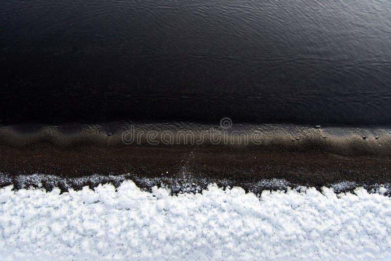 Czarna piasek plaża w Iceland zakrywał w śniegu zdjęcie stock
