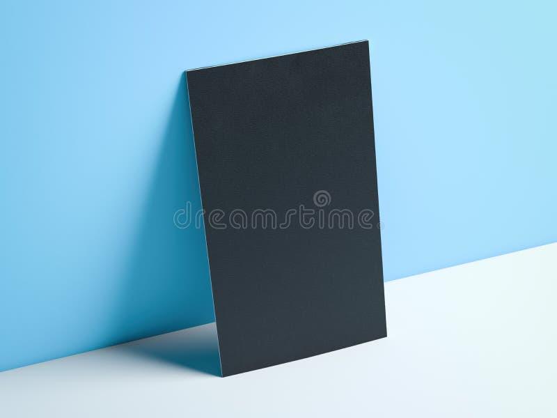Czarna pionowo wizytówka w błękitnym studiu świadczenia 3 d ilustracji