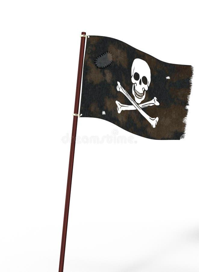 Czarna pirat flaga z czaszką i kościami biały kolor i przetarta tkanina, 3d ilustracja ilustracji