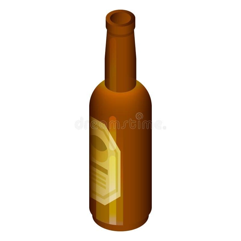 Czarna piwnej butelki ikona, isometric styl ilustracji