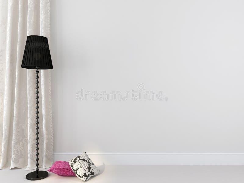 Czarna podłogowa lampa przeciw białemu tłu zdjęcie royalty free
