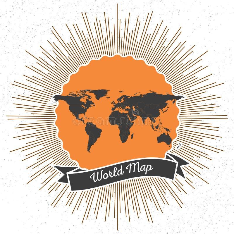 Czarna polityczna światowa mapa z rocznika stylu gwiazdą ilustracja wektor