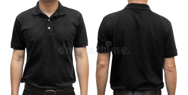Czarna polo koszulka na ciele ludzkim dla graficznego projekta egzaminu próbnego u zdjęcia royalty free