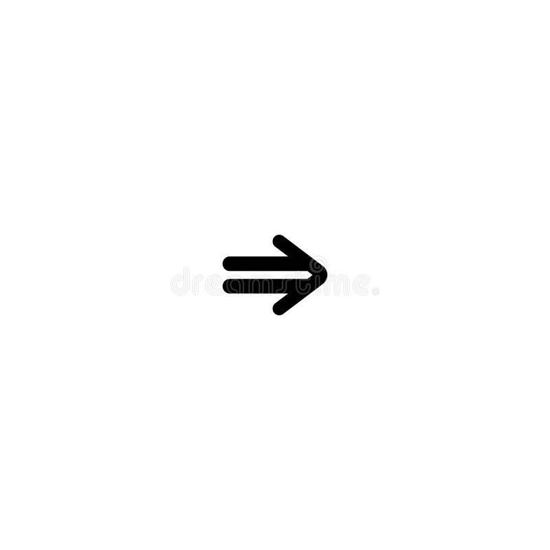 Czarna prawa strzała Kreskowa prosta ikona odizolowywająca na bielu Kontynuuje, wchodzić do, ilustracji
