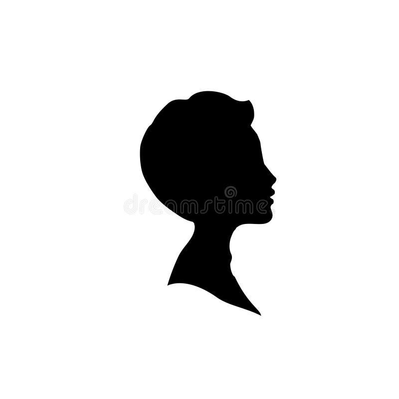 Czarna profilowa sylwetka młoda chłopiec lub mężczyzna głowa, twarz profil, winieta ilustracja wektor