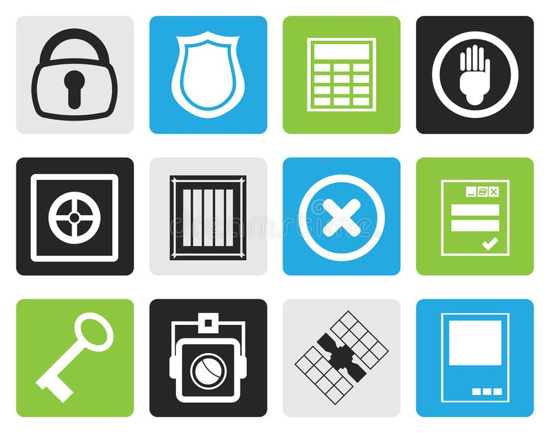 Czarna Prosta ochrona i Biznesowe ikony ilustracji