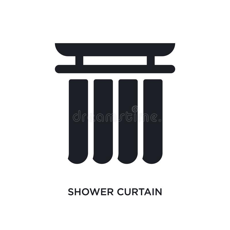 czarna prysznic zasłony odosobniona wektorowa ikona prosta element ilustracja od meble i gospodarstwa domowego pojęcia wektoru ik royalty ilustracja