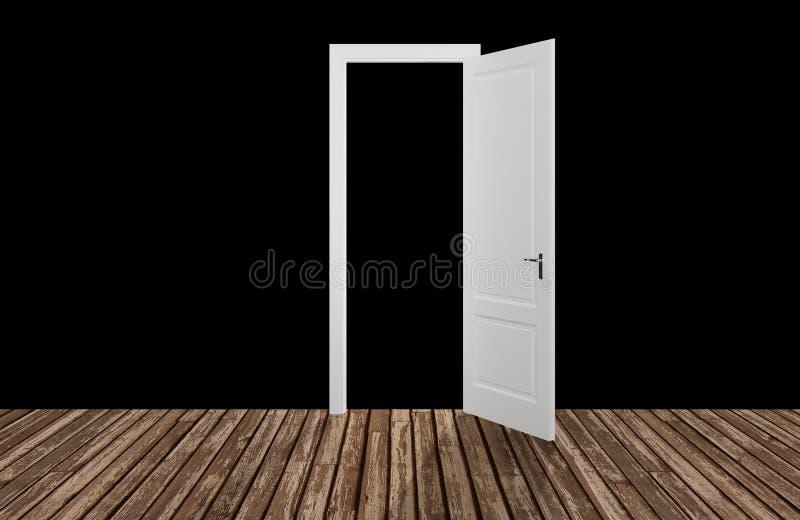 Czarna przestrzeń za otwarcia drzwi, 3D royalty ilustracja