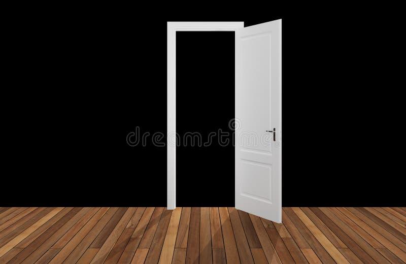 Czarna przestrzeń za otwarcia drzwi, 3D ilustracja wektor