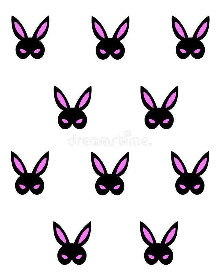 Czarna Różowa królika bdsm maska Wektorowa ręka rysujący projekt dla plakata, t koszulowy druk, wzór, ogólnospołeczni środki kart ilustracji