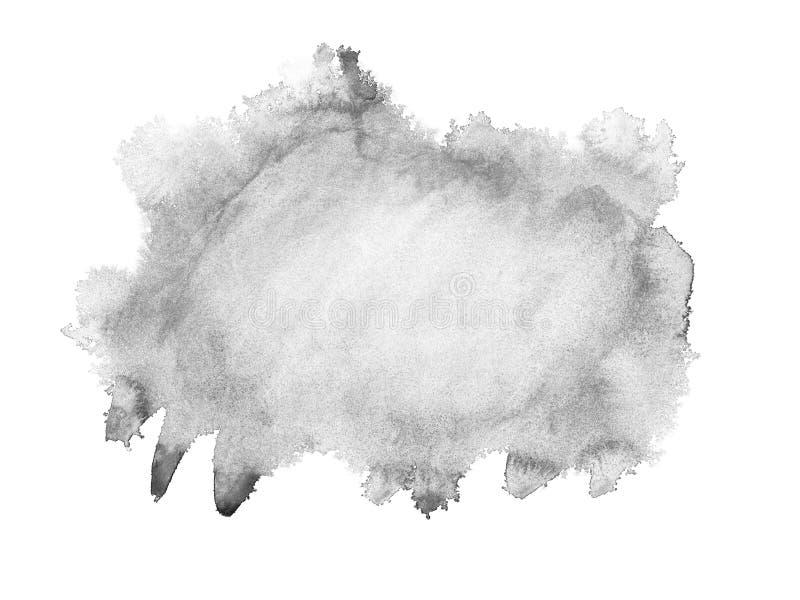 Czarna ręka rysujący akwareli obmycia odizolowywający punkt na białym tle dla teksta projekta, sieć Abstrakta muśnięcia farby pap royalty ilustracja