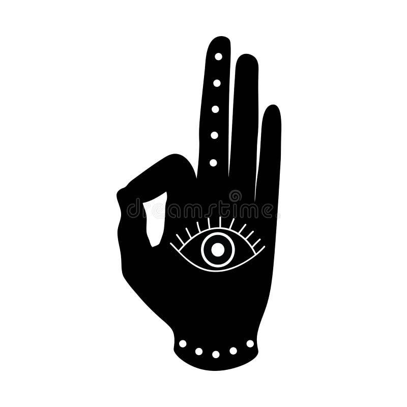 Czarna ręka z oka mudra buddhism hinduism symbolem ilustracja wektor