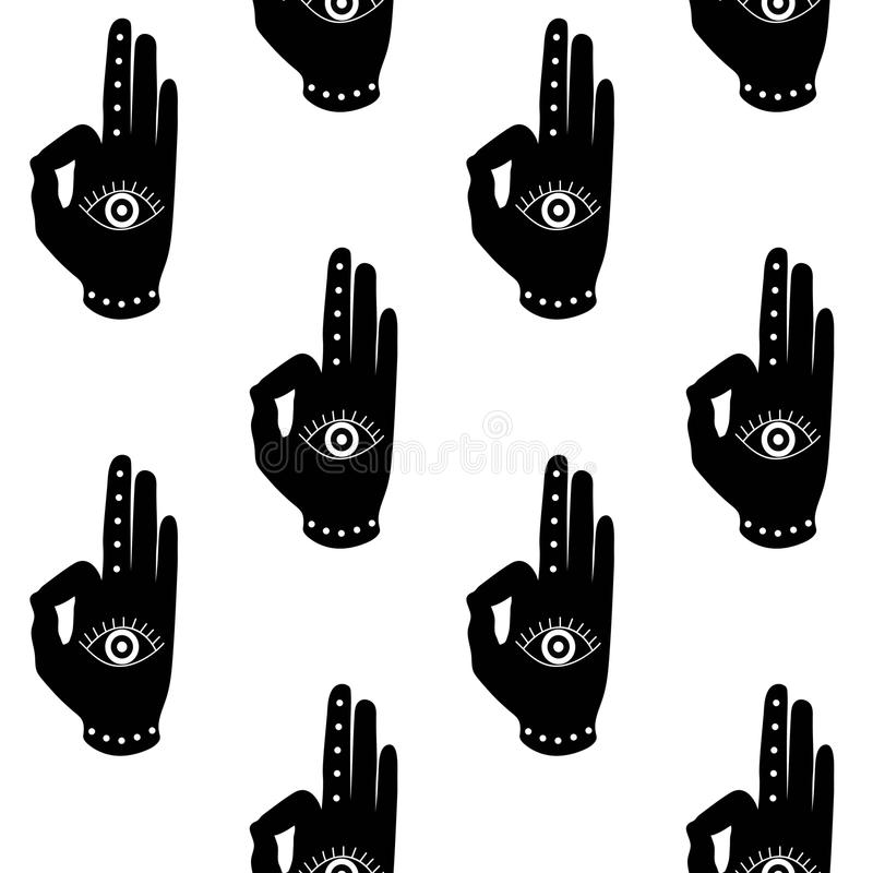 Czarna ręka z oka mudra buddhism hinduism symbolu wzoru seaml ilustracji
