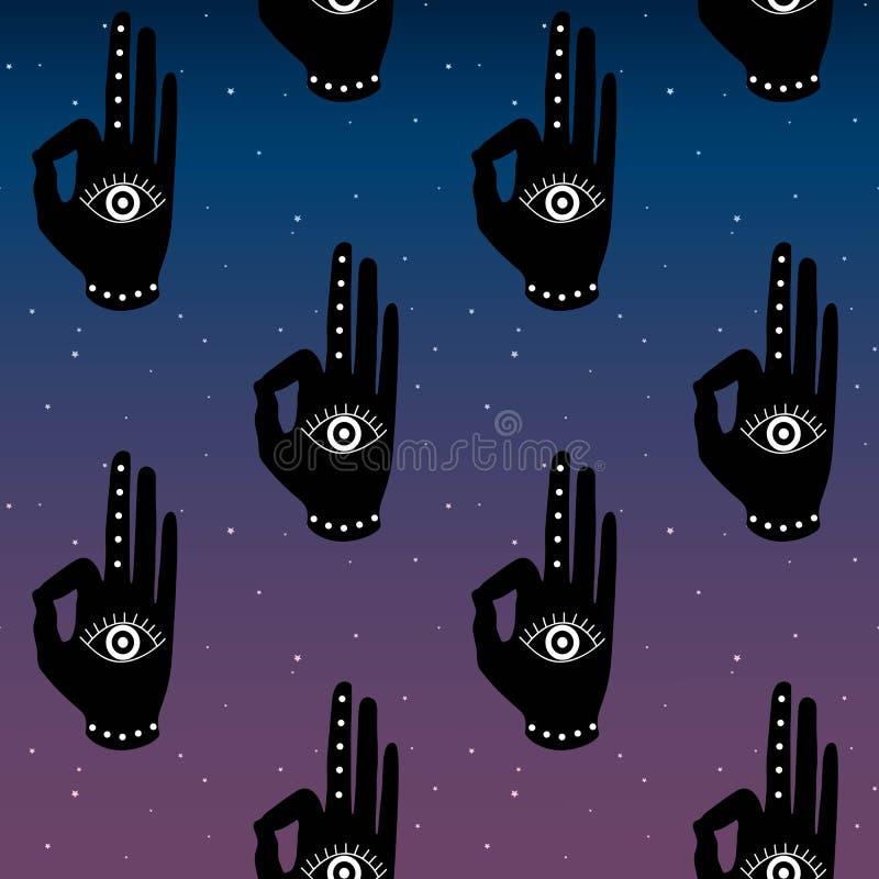 Czarna ręka z oka mudra na błękitnego i purpurowego nieba tła nocy przestrzeni gwiazd buddhism hinduism symbolu wzoru bezszwowy j ilustracja wektor