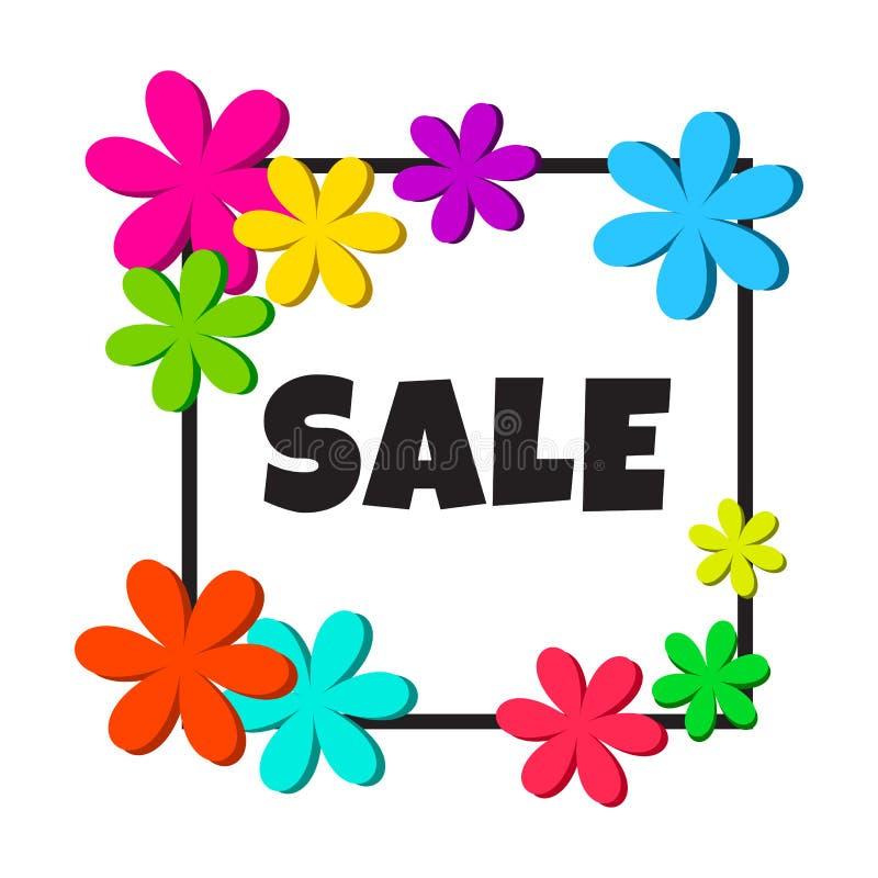 Czarna rama z kolorowymi kwiatami i wpisową sprzedażą wektor ilustracji