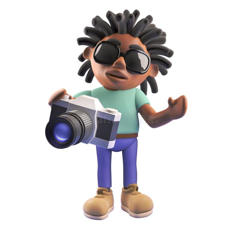 Czarna rastafarian postać z kreskówki trzyma kamerę, 3d ilustracja royalty ilustracja