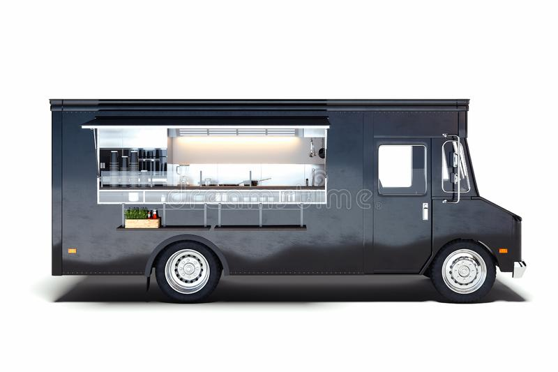 Czarna realistyczna jedzenie ciężarówka odizolowywająca na bielu świadczenia 3 d royalty ilustracja