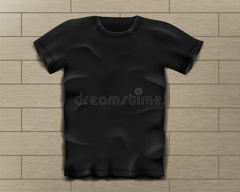 Czarna realistyczna szczupła męska koszulka Pusty koszulka szablon na rocznik drewnianej podłoga Sporta mężczyzna koszulowy proje ilustracji