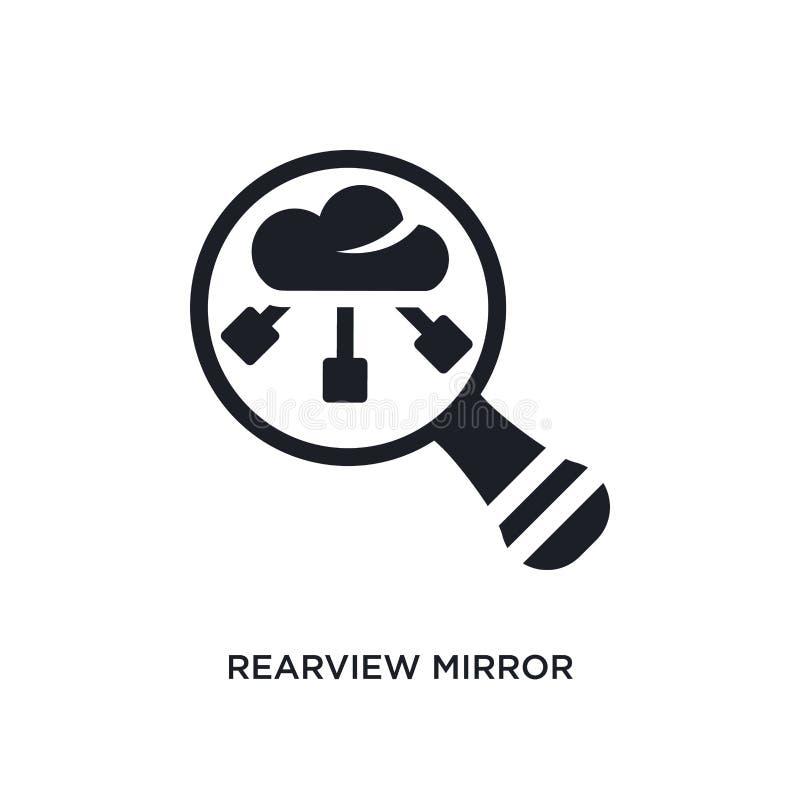 czarna rearview lustra odosobniona wektorowa ikona prosta element ilustracja od dużych dane pojęcia wektoru ikon Rearview lustro royalty ilustracja